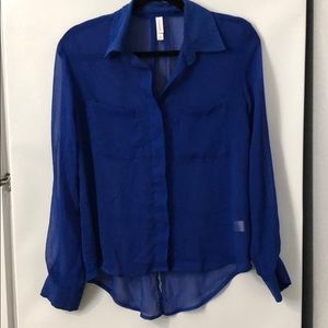 Sheer Blue Button-Up Xhiliration Blouse